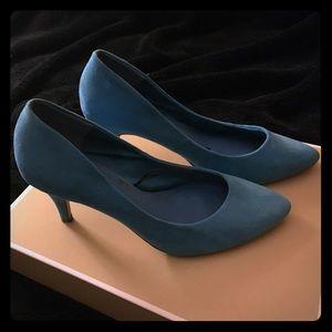 Blue Faux Suede Heels
