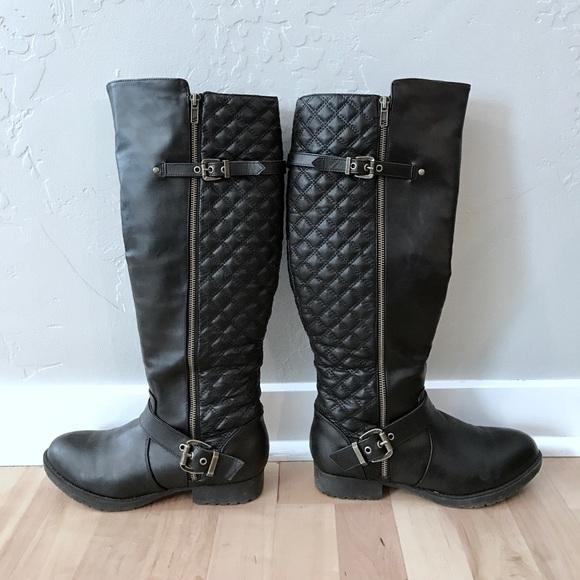 4ebe56cd08e Steve Madden Black Quilted Zipper Riding Boots 8. M 59def5acf09282de75024236