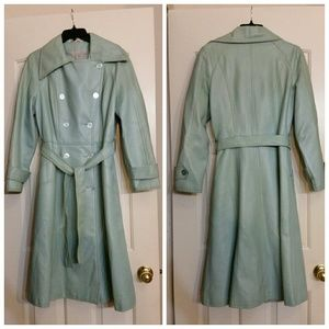 Vintage teal green leather trench coat