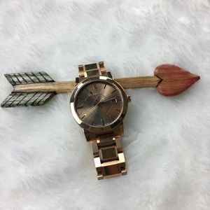 Burberry 18k rose gold plated watch