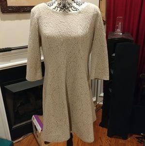 Three Quarter Sleeve A-line Dress