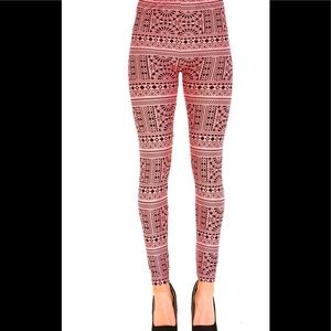 Pants - Pink Aztec print leggings