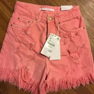 Zara pink high waisted denim shorts