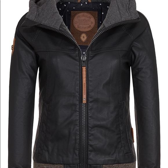 Naketano faux leather jacket with hood