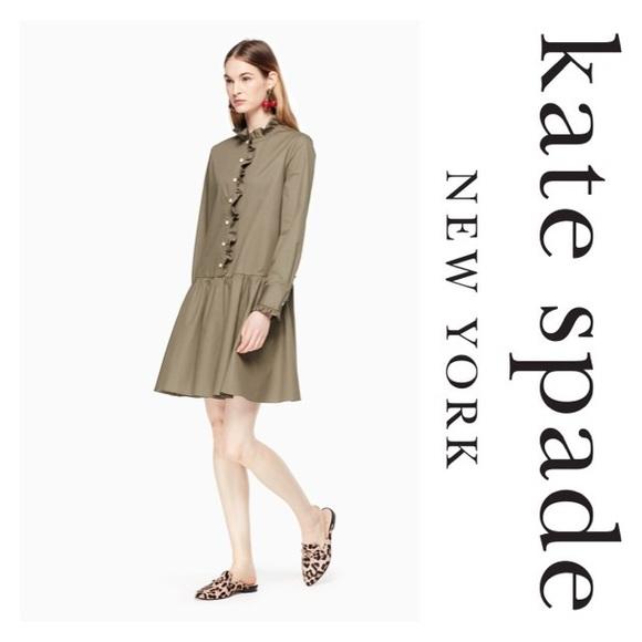 6f323759bf1 New Kate Spade Ruffle Neck Poplin Dress Olive SZ M