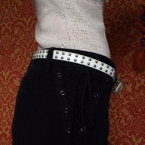 Vintage Accessories - ⬇️ $44 Studded Genuine Leather White & Silver Belt
