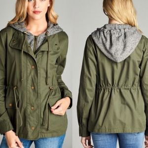 CLEARANCE** Green hooded utility jacket!