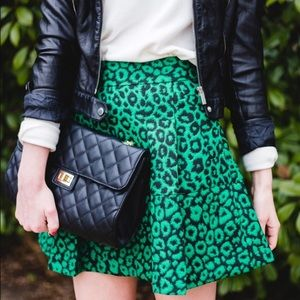 Banana Republic emerald green cheetah print skirt