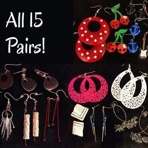 15 Pairs of Pierced Earrings - New & EUC