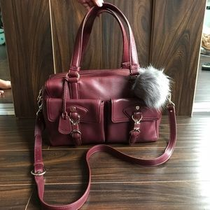COLE HAAN Cranberry Red Leather Satchel Bag