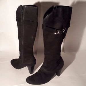 Black Faux Suede Knee High Boot