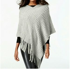 INC INTERNATIONAL CONCEPTS GREY FRINGE PONCHO NWT