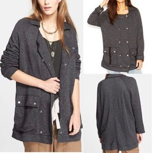NWT free people slouchy anorak peacoat knit lapel
