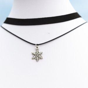 Silver Snowflake Black Choker Necklace