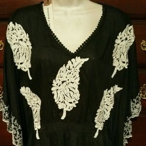 Embroidery Western poncho blouse