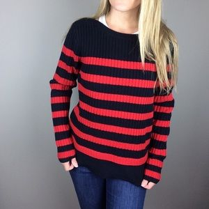 Madewell navy and red striped Anchorlight Sweater