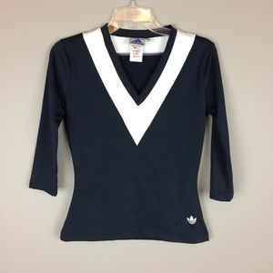 Adidas v neck navy blue and white active top