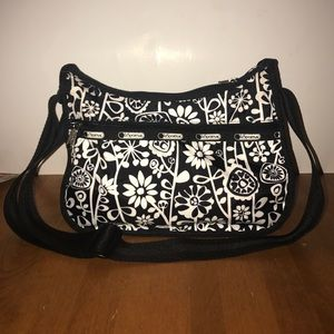 LeSportSac Classic Hobo- Black with White Flowers