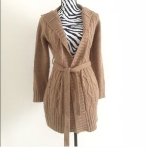 Hooded Knit Belted Cardigan