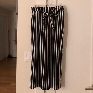 Zara wide leg cropped stripe trousers