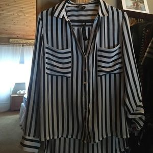 Brand new Bebe black and white striped top