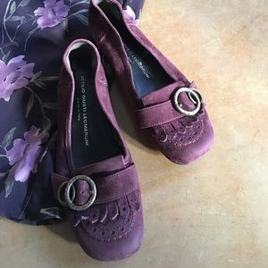 Italian burgundy suede flats,  size 36.5