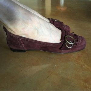 Attilio Giusti Leombruni Shoes - Italian burgundy suede flats,  size 36.5