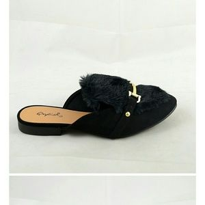 Shoes - Furry Top Loafer Mules