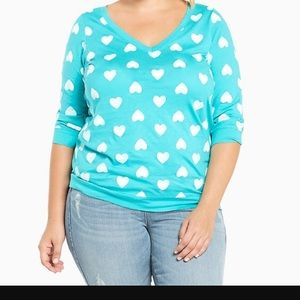 Torrid heart print v-neck 3/4 sleeve -teal size 3