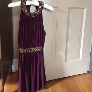 Purple dress with beaded waist line and neckline