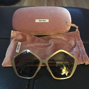 Miu Miu Gold Pentagon Sunglasses