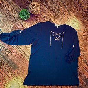 Navy Michael Kors Tunic w Gold chain tie Sz 1X