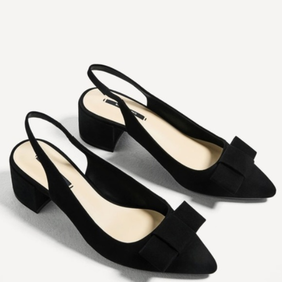 Zara Bow Block Heel Slingbacks. M 59df73d6620ff748ed032567