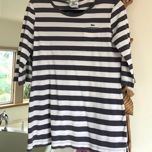 Vintage purple and white striped Lacoste shirt