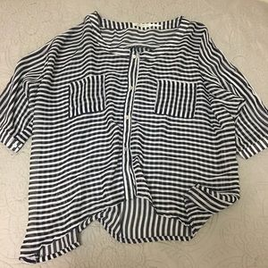 Sheer Button Up Striped Top