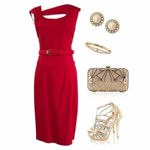 Cache Sexy Red Midi Dress with Cut in Chest