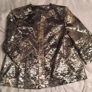NWOT METALLIC Patterned Jacket w/ Ruched Sleeves