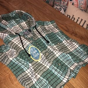 NWT Vintage 90's Cropped Plaid Hooded Flannel