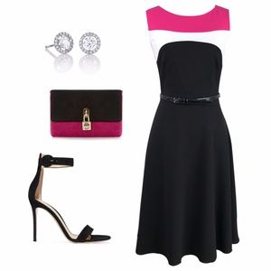 Calvin Klein Pink, Black and White Princess Dress