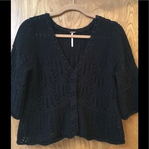 Free People Cotton Crochet Knit Cardigan
