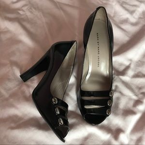 Marc by Marc Jacobs leather button peep toe heels
