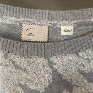 Anthro Postmark Paisley Textured Crew Neck Sweater