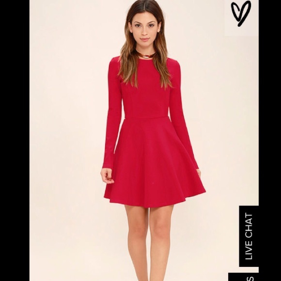 f4ff17ac6f85 Lulu s -Forever Chic Red Long Sleeve Skater Dress