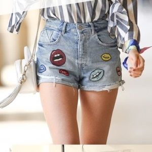 Zara Trafaluc Lips Denim Shorts