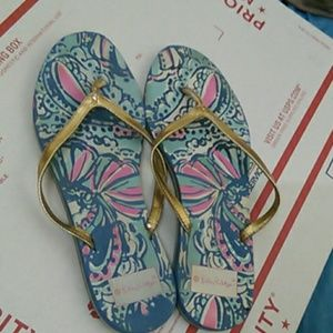 HP best shoes!$↘Lilly Pulizer gold flip flops
