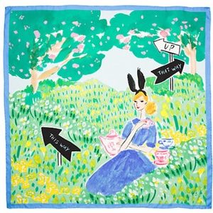 Kate Spade Alice Tea Party Illustrated Silk Scarf