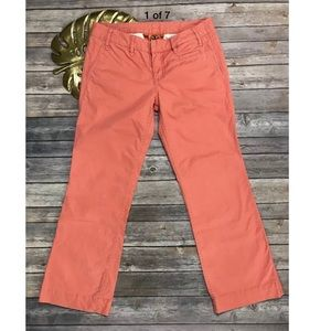 Tory Burch Coral Cropped Cotton Pants Size 26