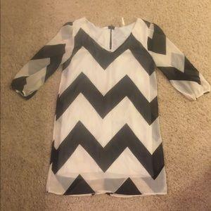Sage Chevron Black and White Dress