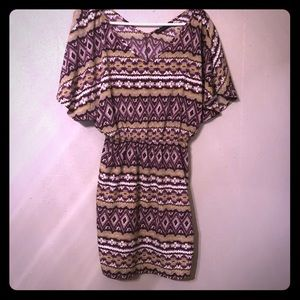 Peaches N cream. Purple & Gold Aztec Print Dress.
