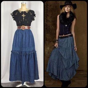 Tiered Jean Ruffled Western Denim Peasant Skirt
